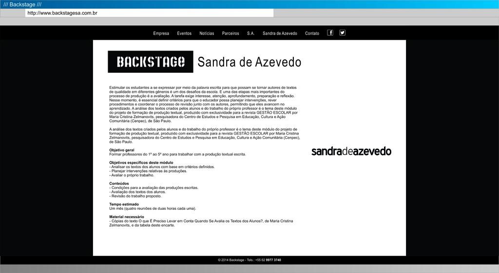 Backstage - Sandra Azevedo
